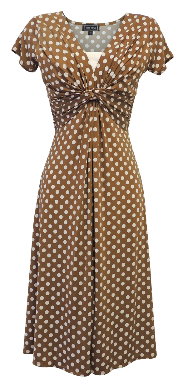 Nuovi Sandali Donna Deco A Pois Vintage Retro Ww2 Land Ragazza 1940s/50s Pin-up Tea Dress- Rimozione Dell'Ostruzione