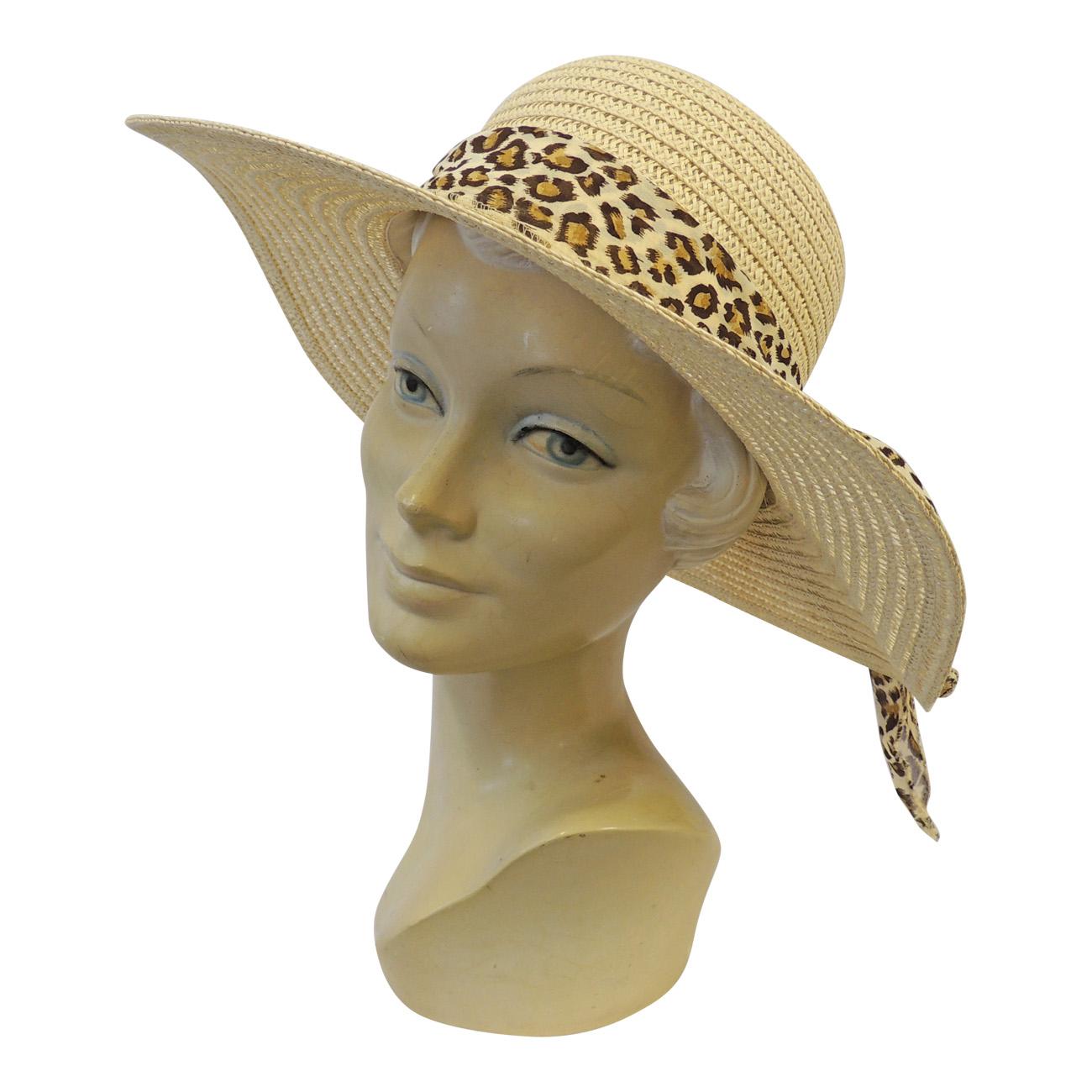 New Retro Wide Brim Raffia Leopard Summer Sun Hat 1920 s 1930 s ... 56a40d3fec7d