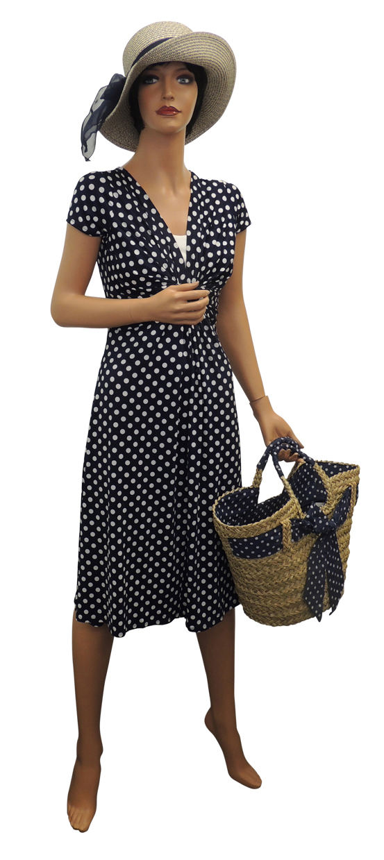 New Slinky Ladies Vtg Ww2 Land Girl 1940s 50s Polka Dot