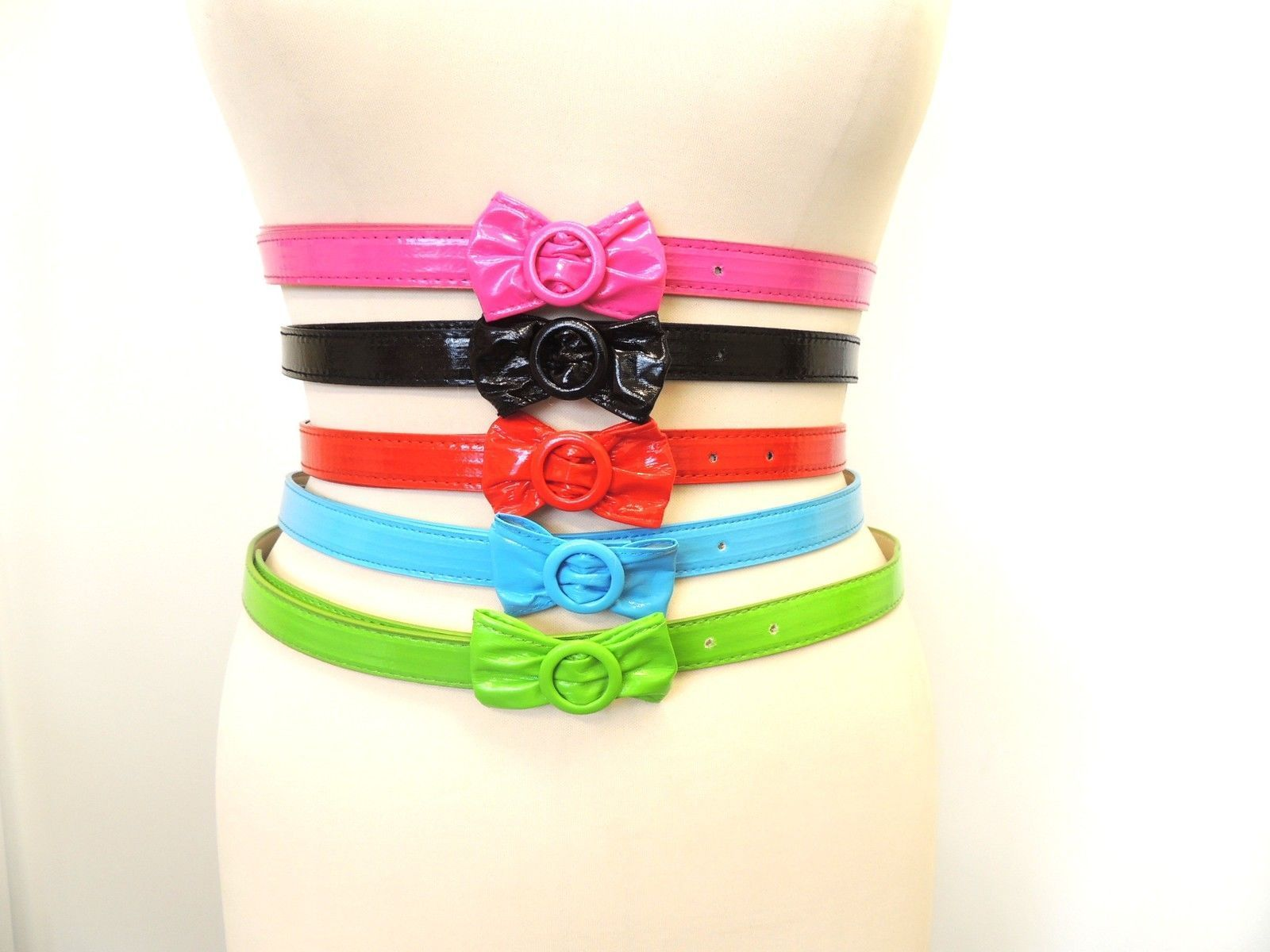 New-Ladies-Vintage-1950-039-s-style-Pin-up-thin-skinny-belt-with-Bow