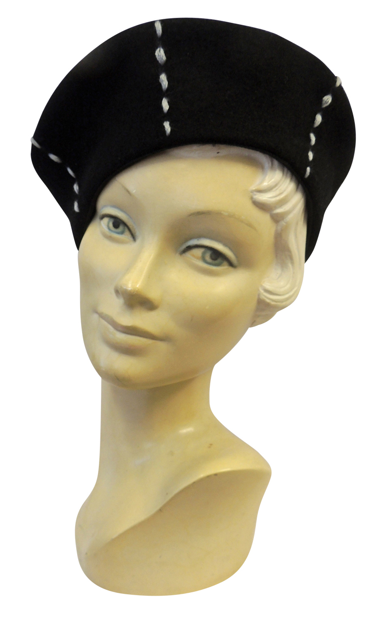 1940s Style Hats 1930s 40s WW2 Wartime Felt Stitch Detail Beret Hat $12.99 AT vintagedancer.com