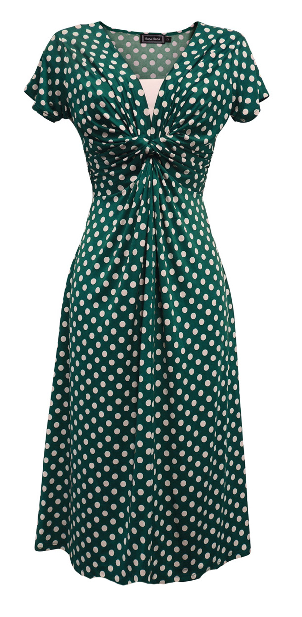 Luminosa Nuovi Donna Retro Ww2 Land Ragazza 1940s Tempo Di Guerra Verde Acqua Polka Dot Tea Dress-mostra Il Titolo Originale