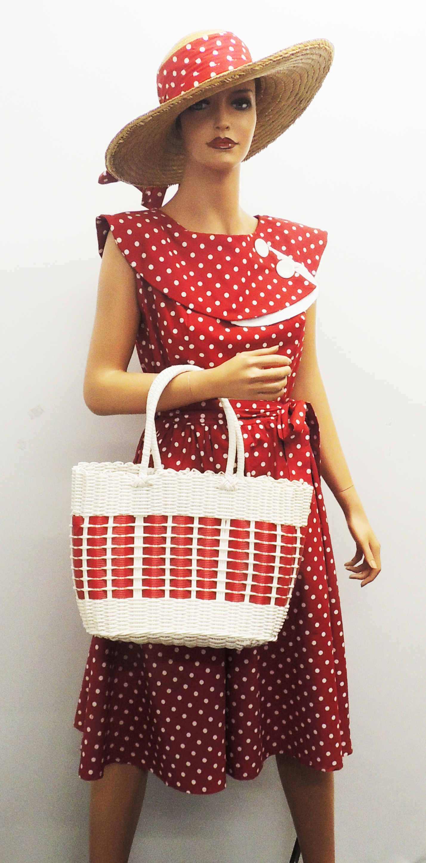 Retro Handbags, Purses, Wallets, Bags   New Retro 1940s 50's style White Red Blue Plastic Beach Picnic Shopping Basket $12.99 AT vintagedancer.com
