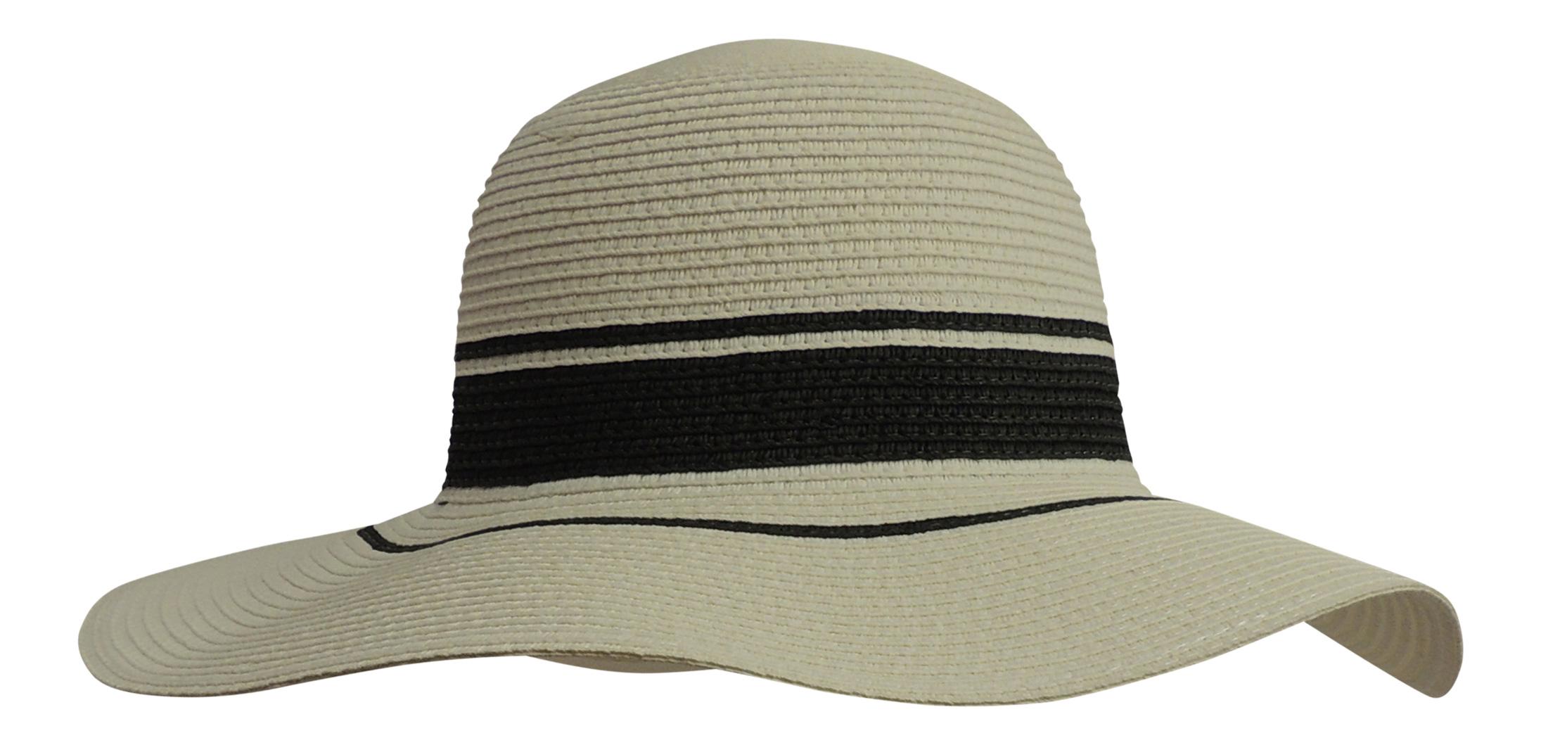 New Retro Wide Brim Floppy Black White Raffia Summer Sun Hat Vintage Style f6c3b533144c