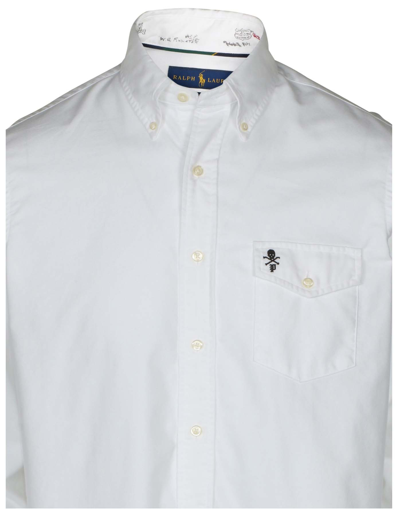dc7caa875b906 Details about Polo Ralph Lauren Men s Classic Fit Skull Pocket Oxford Shirt- White