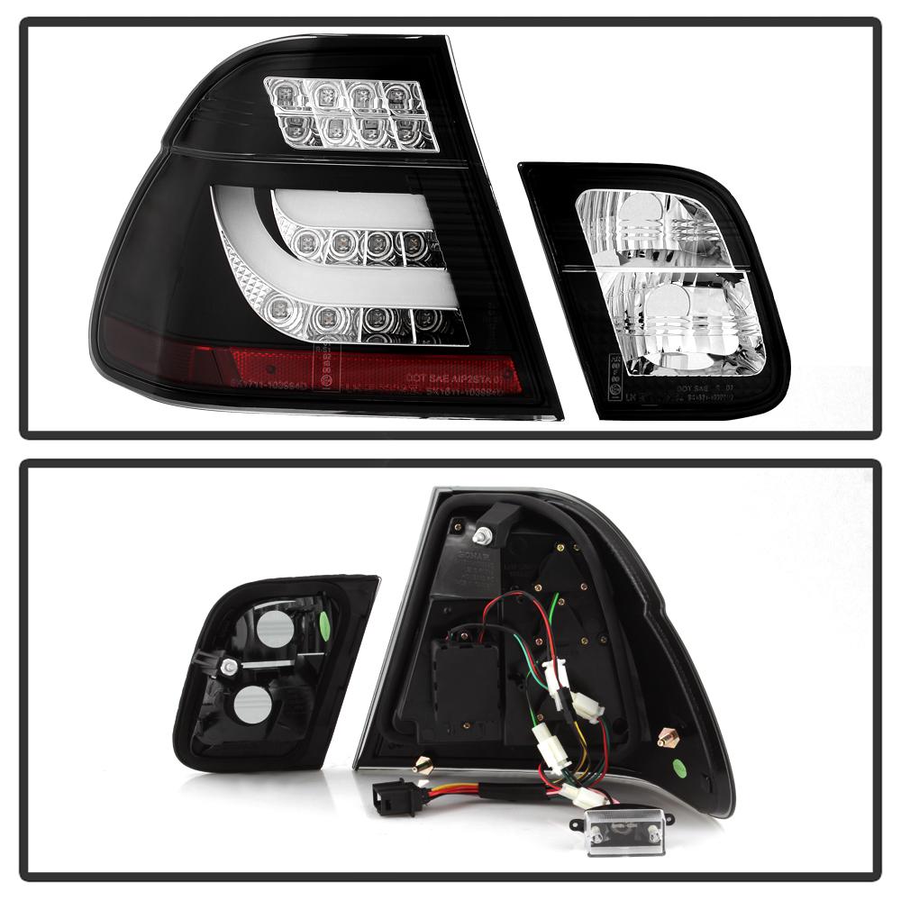 For 02-05 BMW E46 3-Series 4DR Tail Light Black LED BAR