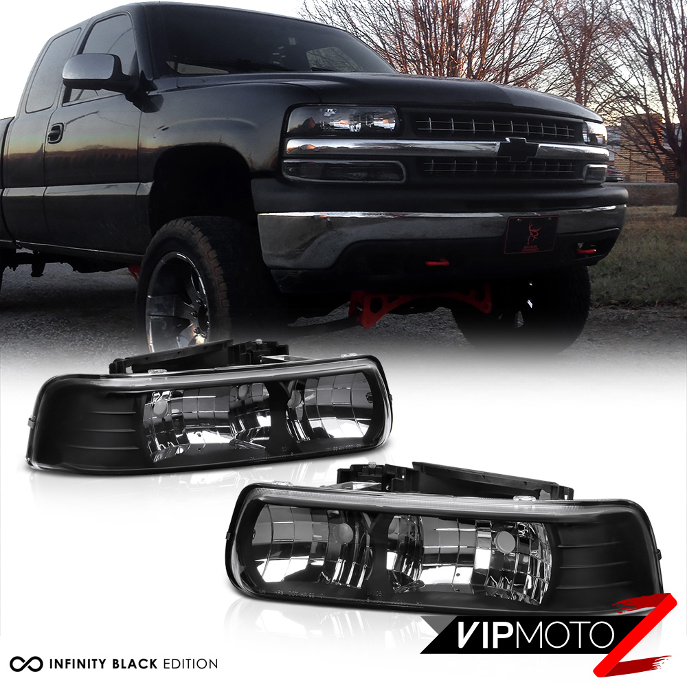 Black Headlight Replacement for 99-02 GMC Sierra Pickup /& 00-06 Yukon 1500// Yukon XL 2500 Factory Style Weathertight Headlamp Assembly Pair Parking Lamps