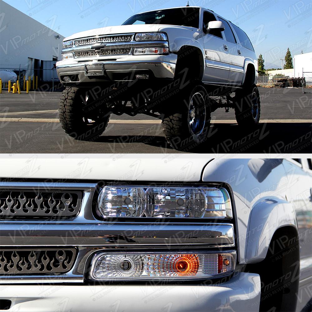2002 Chevrolet Silverado 3500 Crew Cab Transmission: L+R Clear Headlight+Bumper Parking Lamp W/ Amber Chevy 99