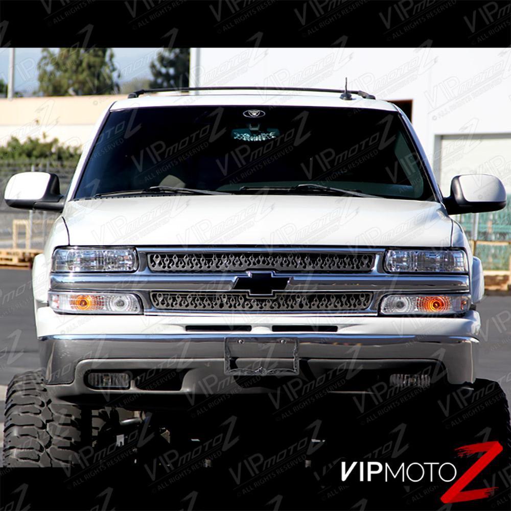L+R Clear Headlight+Bumper Parking Lamp W/ Amber Chevy 99