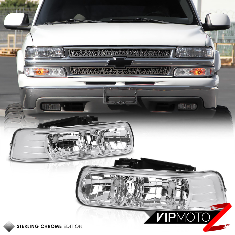 2000 Chevrolet Silverado 1500 Extended Cab Camshaft: L+R Clear Headlight+Bumper Parking Lamp W/ Amber Chevy 99
