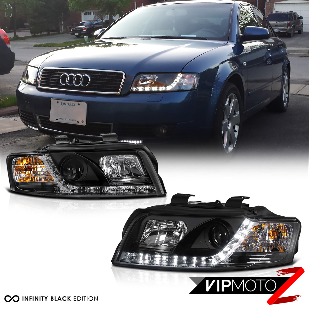 2002 2005 audi a4 typ 8e b6 black led r8 style projector. Black Bedroom Furniture Sets. Home Design Ideas