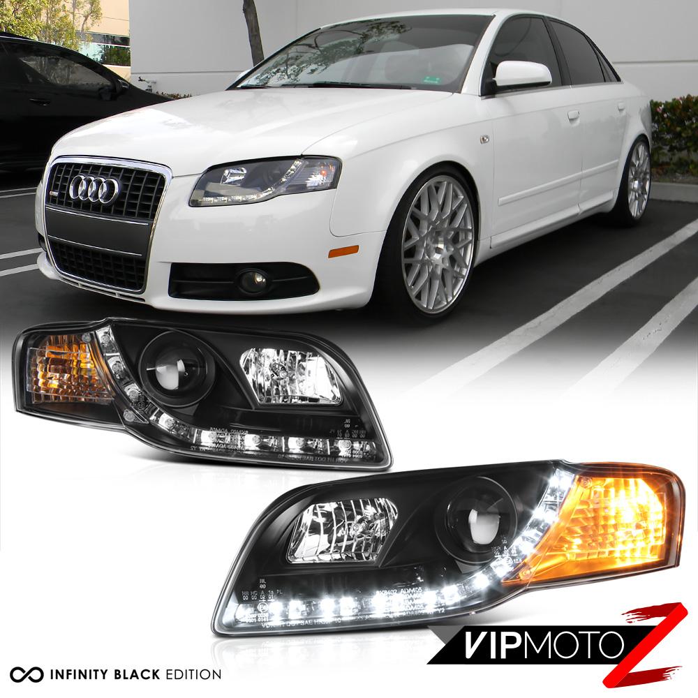 06-2008 Audi A4 B7 Black Halo Projector LED DRL Headlight