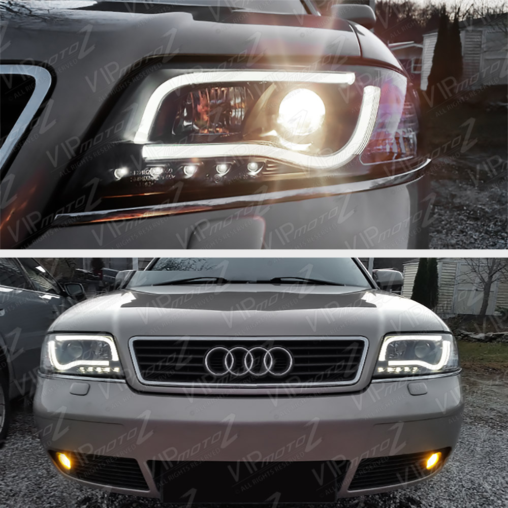 1998 2001 Audi A6 C5 Black Ultra Neon Tube Led Drl Projector