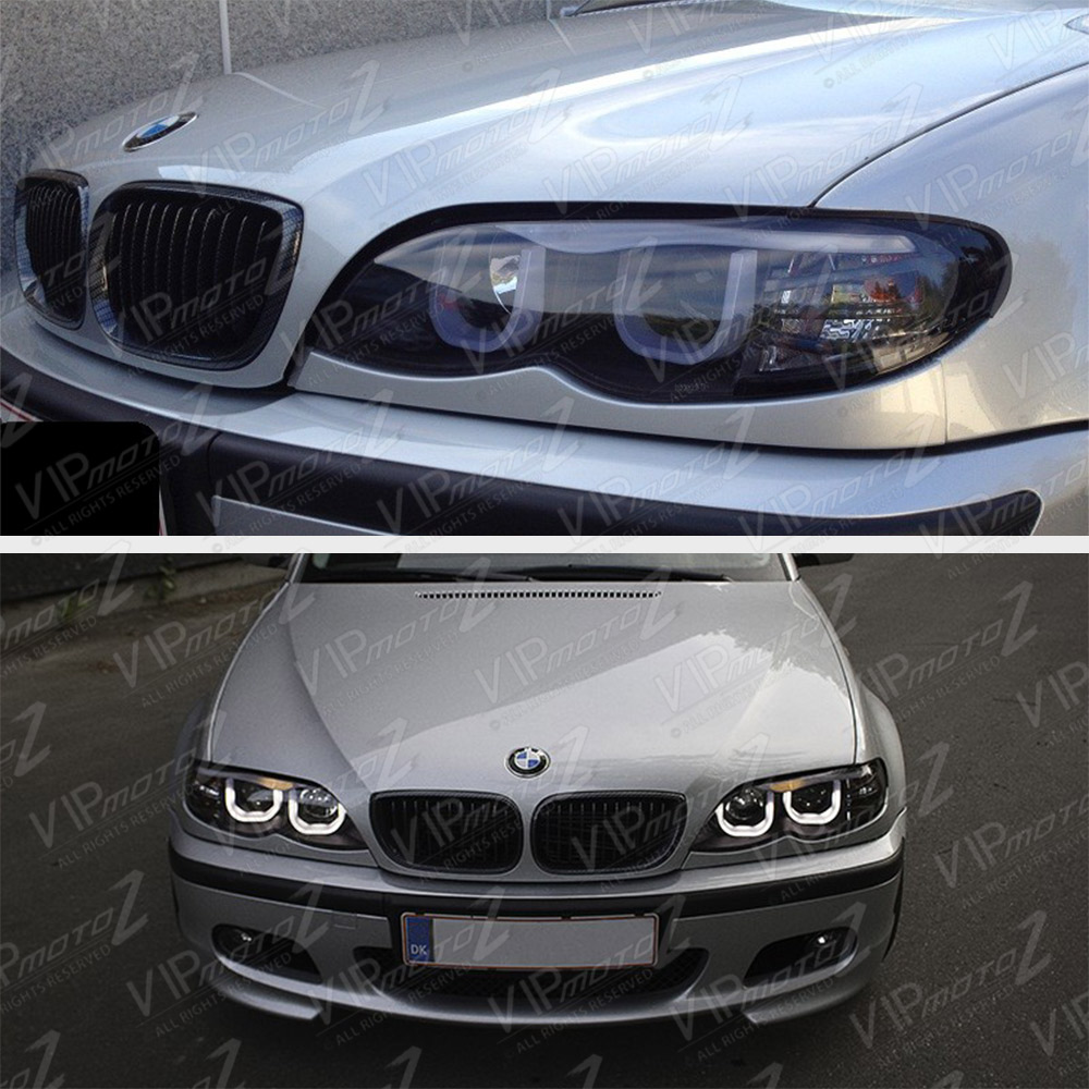 bmw e46 3 series sedan euro black 3d style halo angel eyes projector headlights ebay. Black Bedroom Furniture Sets. Home Design Ideas