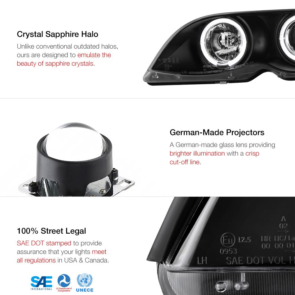 2002 2005 bmw e46 4dr sedan black halo projector headlight. Black Bedroom Furniture Sets. Home Design Ideas
