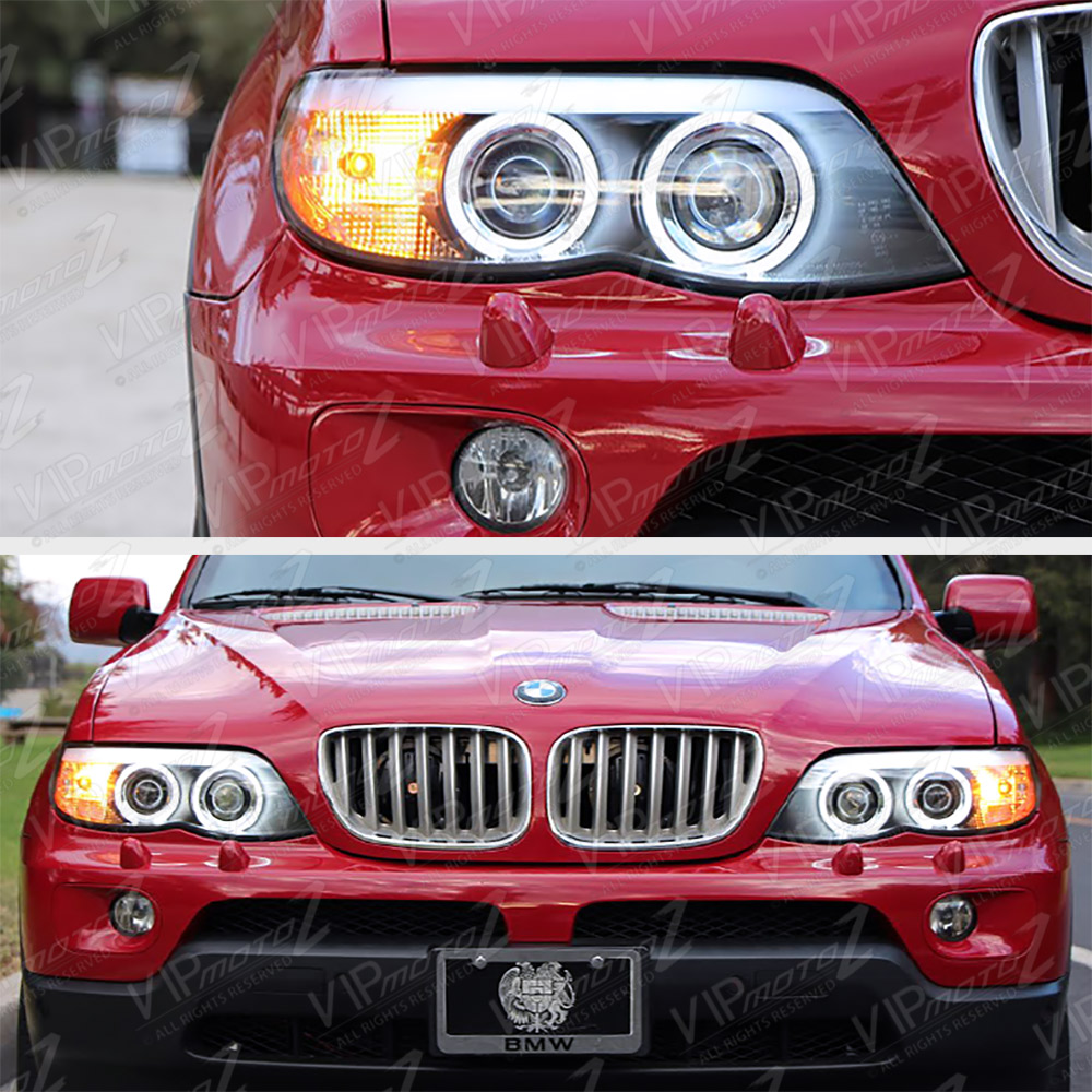 2004 2006 bmw e53 x5 blk ccfl angel eye halo projector headlight. Black Bedroom Furniture Sets. Home Design Ideas