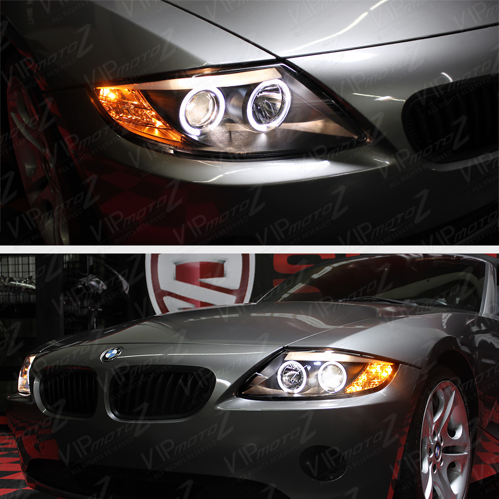 Bmw Z4 Headlights: Halo Projector Black Headlight Angel Eyes Pair Left+Right