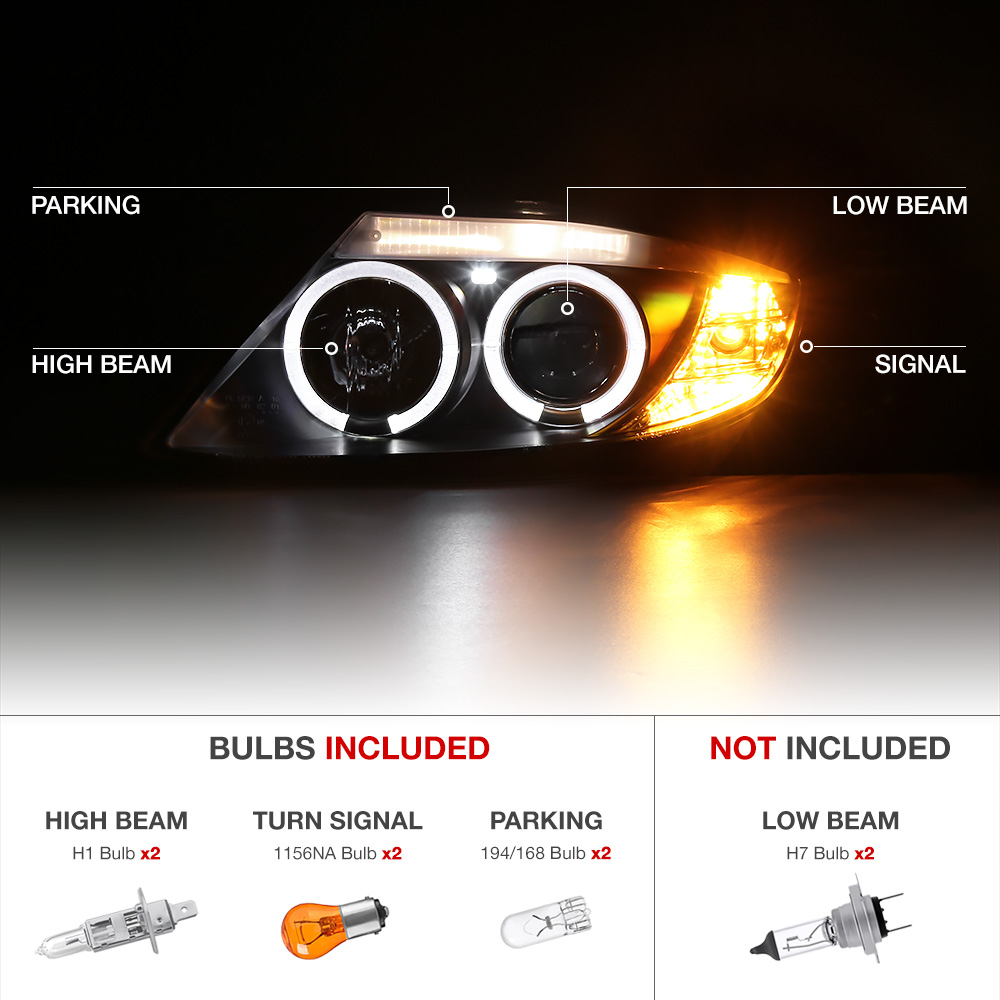 Halo Projector Black Headlight Angel Eyes Pair Left Right