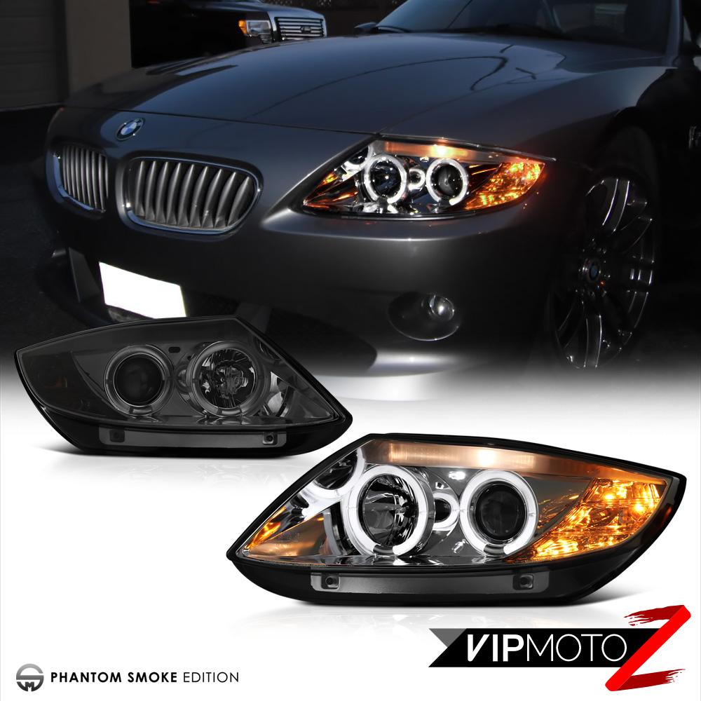 Bmw Z4 Xenon Headlights: 2003-2008 BMW Z4 [SMOKE LEN] Dual Halo Angel Eye Projector