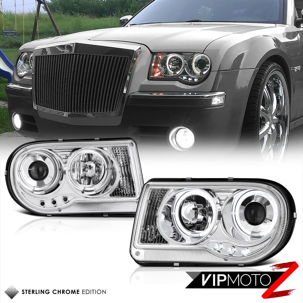 2005 2010 Chrysler 300 300c Shinny Black Vertical Front: 2005-2010 Chrysler 300C SHINY CHROME Dual Angel Eye LED