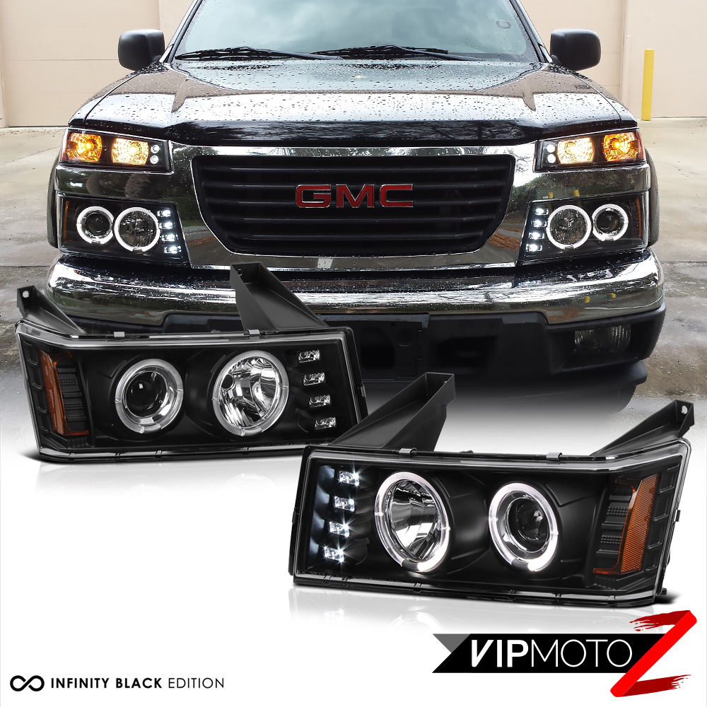 Details about For 04-12 Chevy Colorado GMC Canyon Black Halo LED DRL on