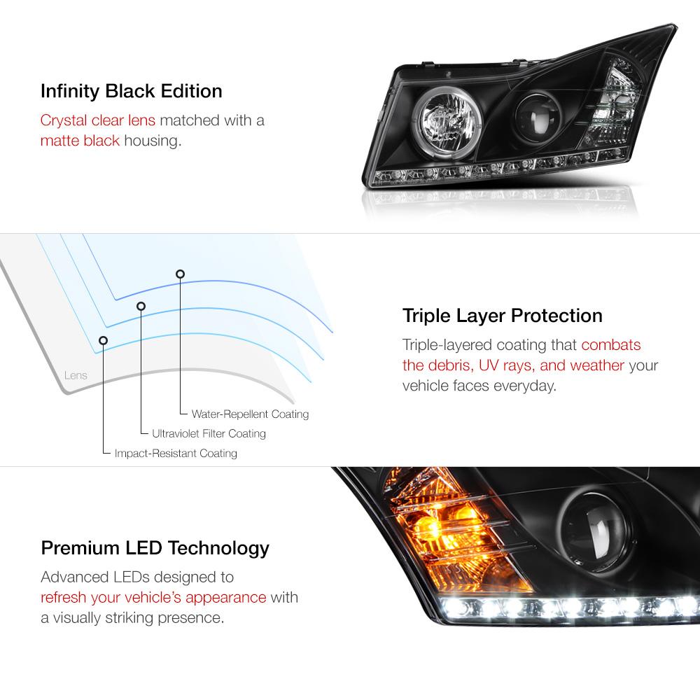 2011 2015 chevy cruze schwarz halo projektor led. Black Bedroom Furniture Sets. Home Design Ideas