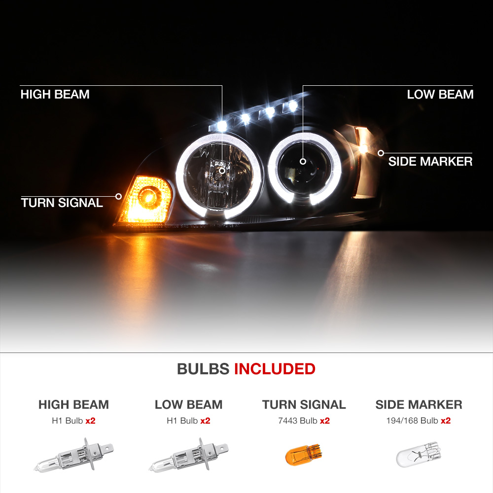 2006 2013 chevy impala halo led black projector headlight. Black Bedroom Furniture Sets. Home Design Ideas