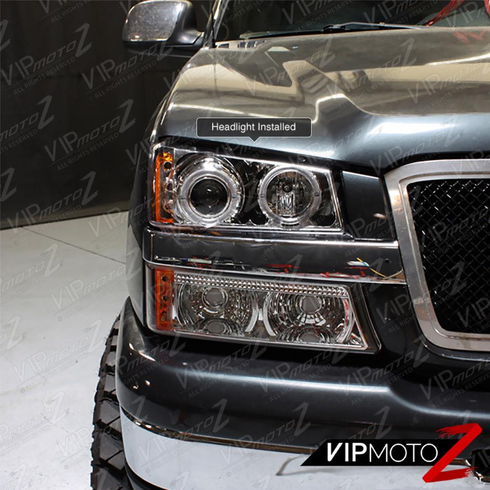 04: 2003-2006 Chevy Silverado Halo LED Projector Headlights 04