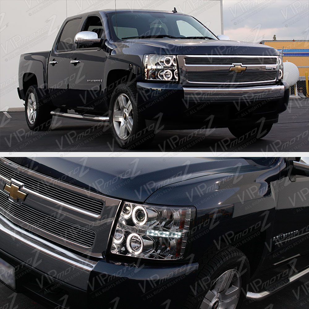 ccfl halo led projector headlight 07 13 chevy silverado. Black Bedroom Furniture Sets. Home Design Ideas