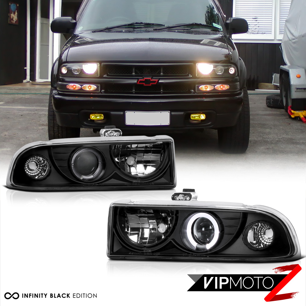 New Pair Led Projector Black Headlight Led Halo Lamps 1998