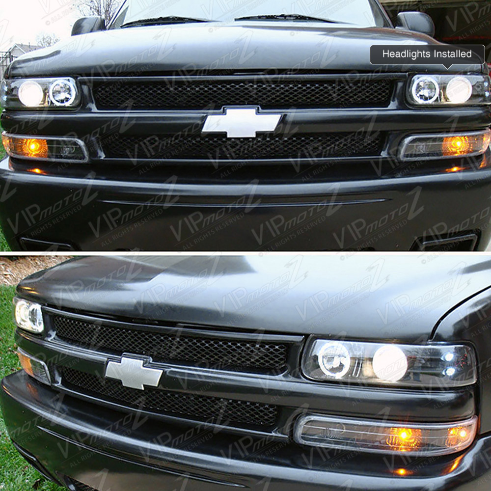 99 02 chevy silverado 1500 halo led projector black headlight amber parking lamp ebay. Black Bedroom Furniture Sets. Home Design Ideas