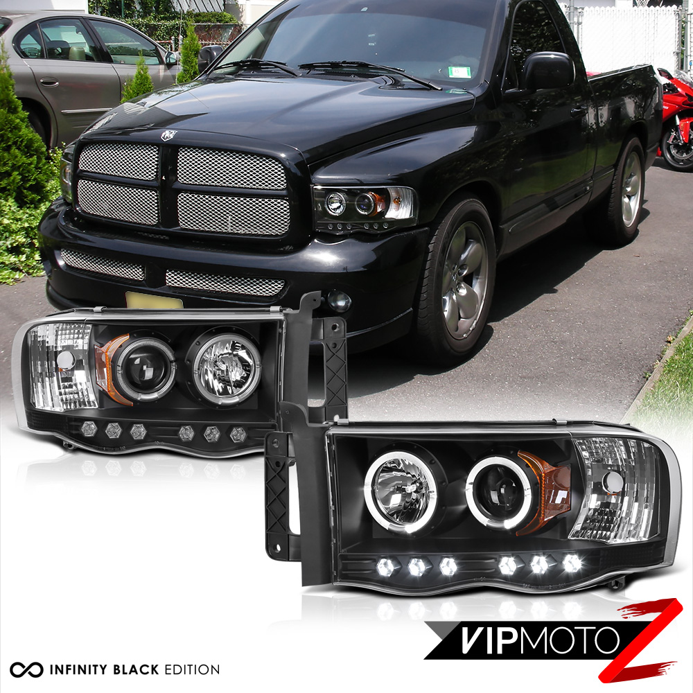 Dodge Ram 1500: 2002-2005 Dodge Ram Pickup Black Halo LED Projector