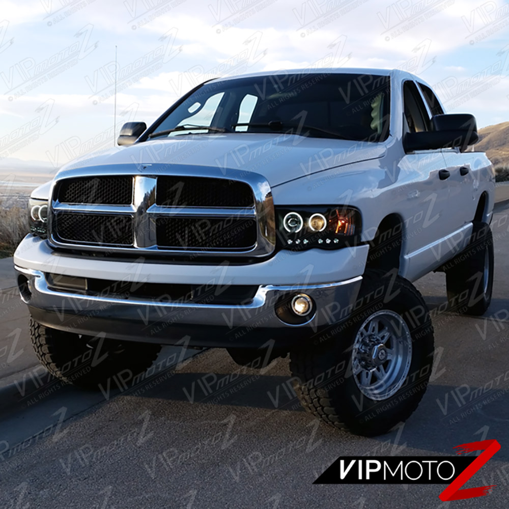 sinister black 2002 2005 dodge ram 1500 halo led head lights 03 05 ram 2500 3500 7425938920993. Black Bedroom Furniture Sets. Home Design Ideas