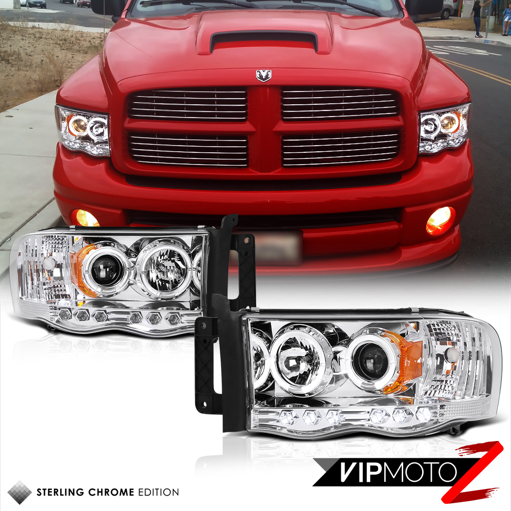 2002-2005 Dodge Ram 1500 Chrome Halo LED Projector