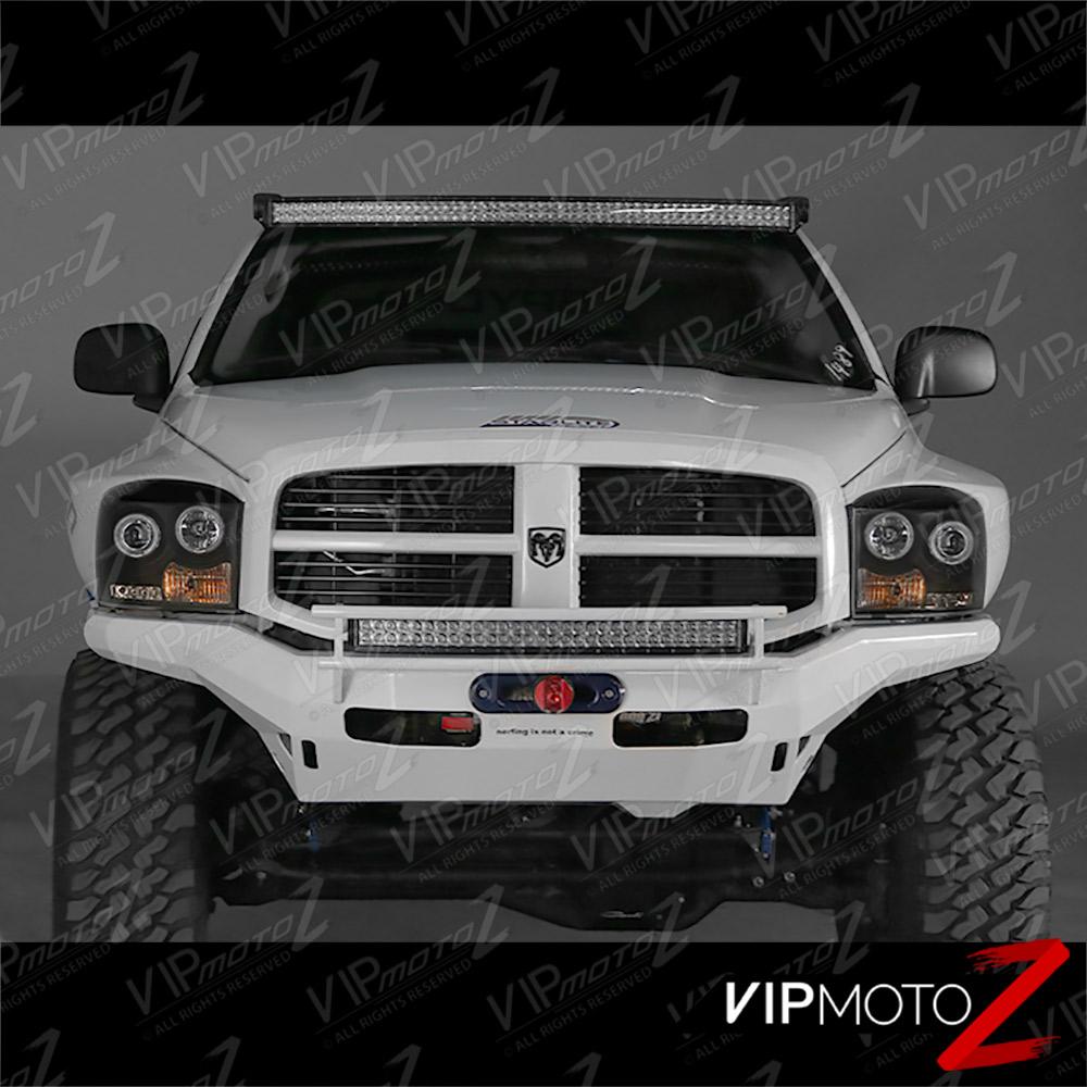 2006 2009 Dodge Ram 1500 Sinister Black 06 08 Ram 2500: CCFL Halo Angel Eyes LED Projector Black Headlight 06-08
