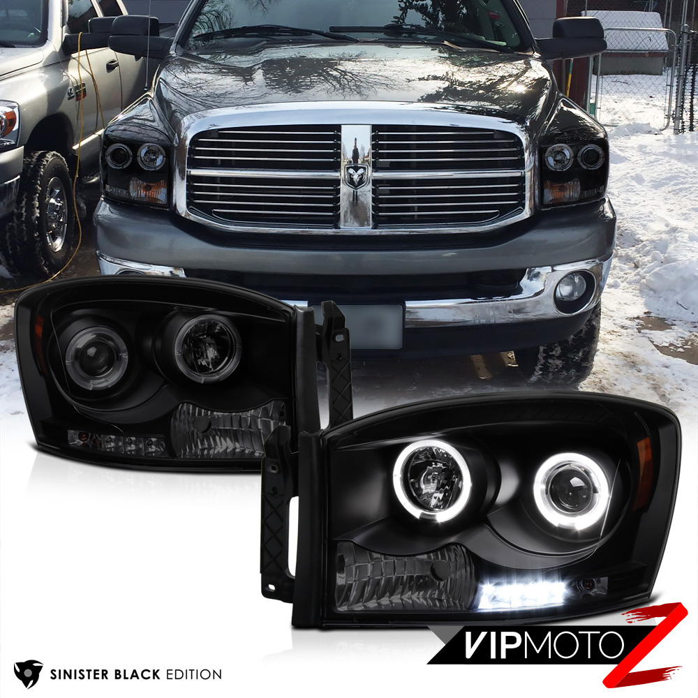 dual halo led headlight tail lights dodge ram 1500 2500. Black Bedroom Furniture Sets. Home Design Ideas