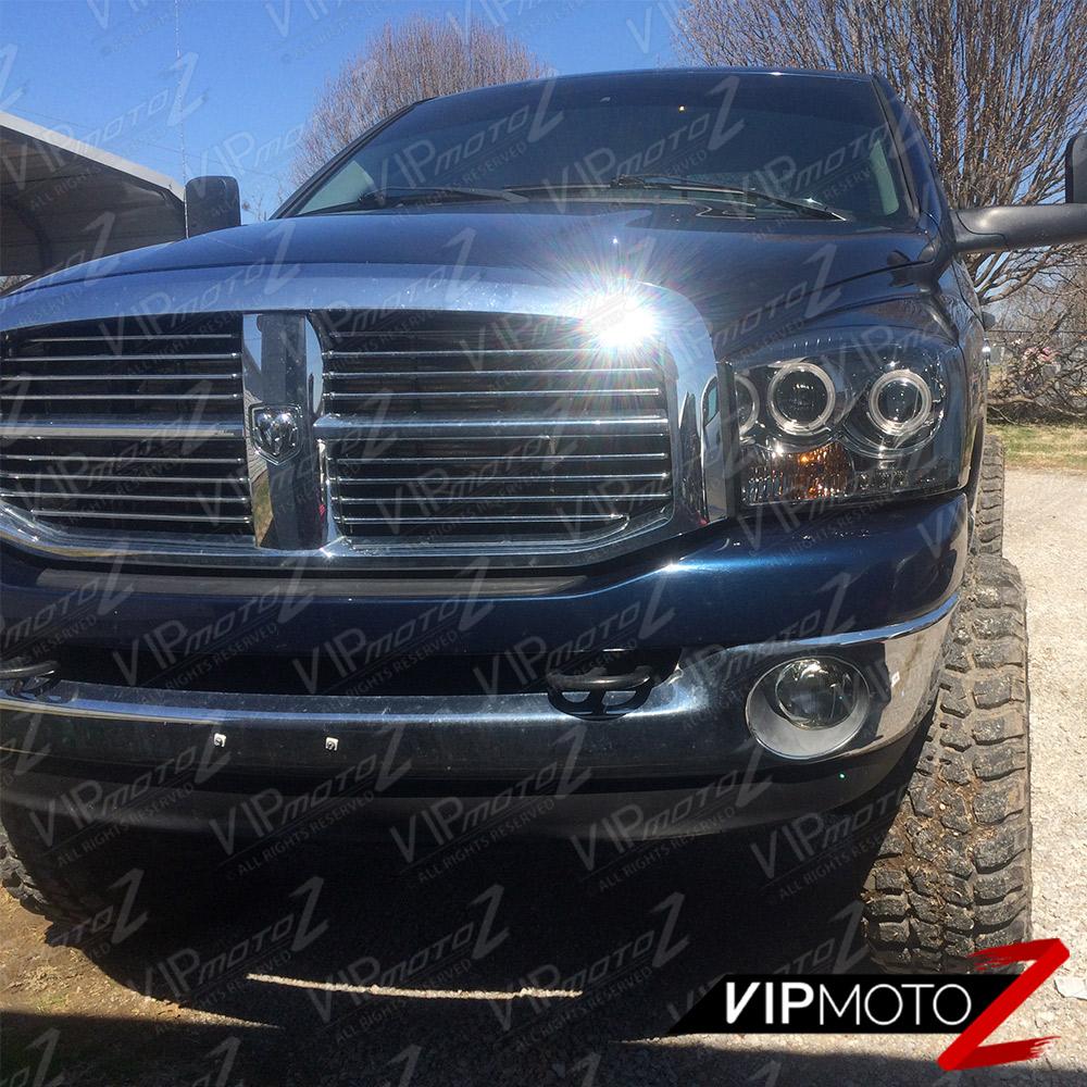 2006 2008 Dodge Ram 1500 2500 3500 Smoke Front Bumper: Left+Right HaLo ProjectOr SmOke Headlight Lamps 06-2008