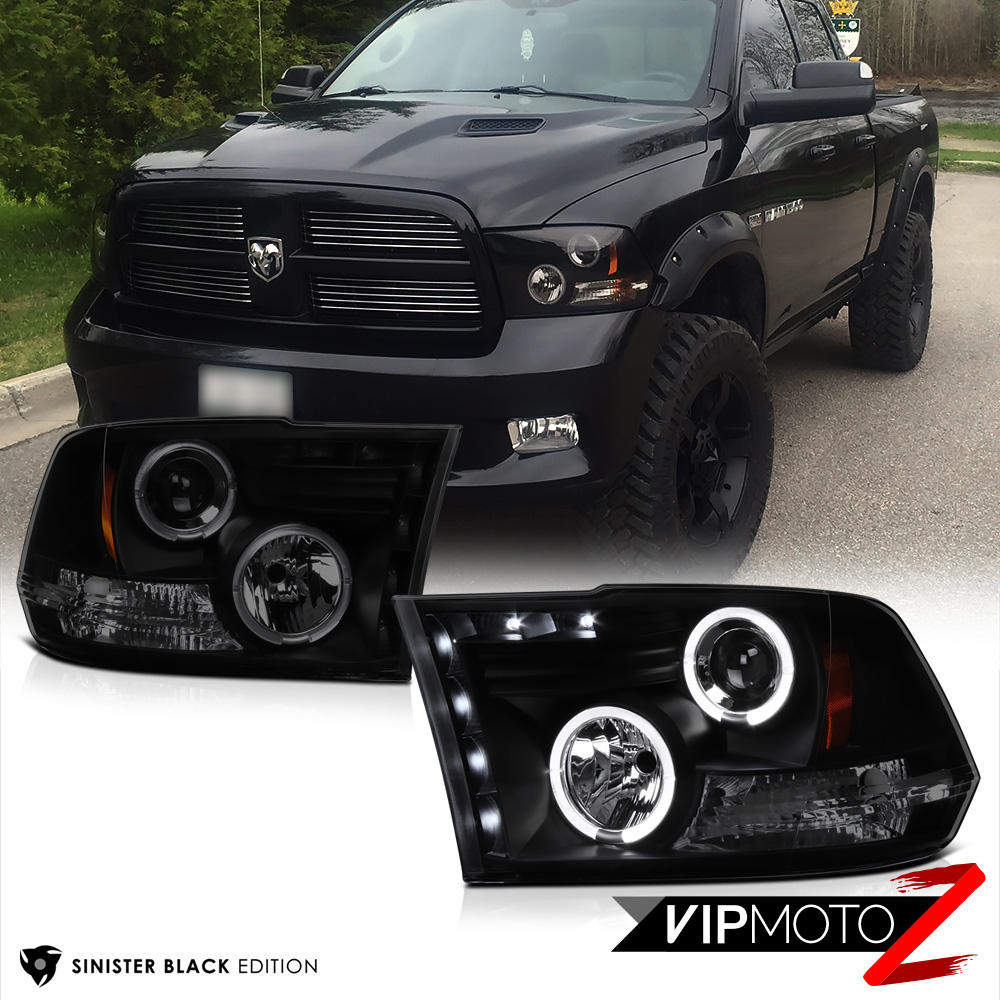 2009 2017 dodge ram sinister black halo led headlights. Black Bedroom Furniture Sets. Home Design Ideas