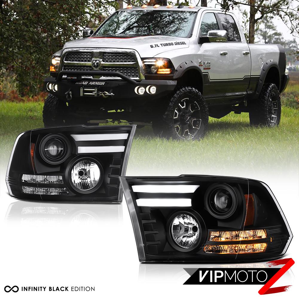 2009 2017 dodge ram 1500 2500 3500 tribal version black led drl headlights