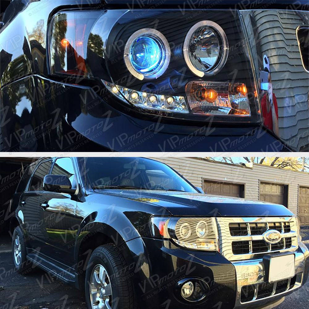 08 12 Ford Escape Hybrid Fwd 4wd Halo Projector Black Led Headlight