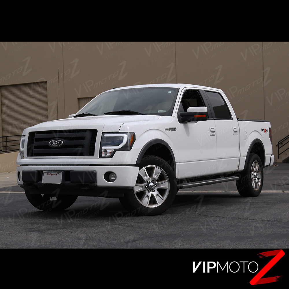 Exclusive 2009-2013 Ford F150 [D3S HID] Black LED Halo DRL