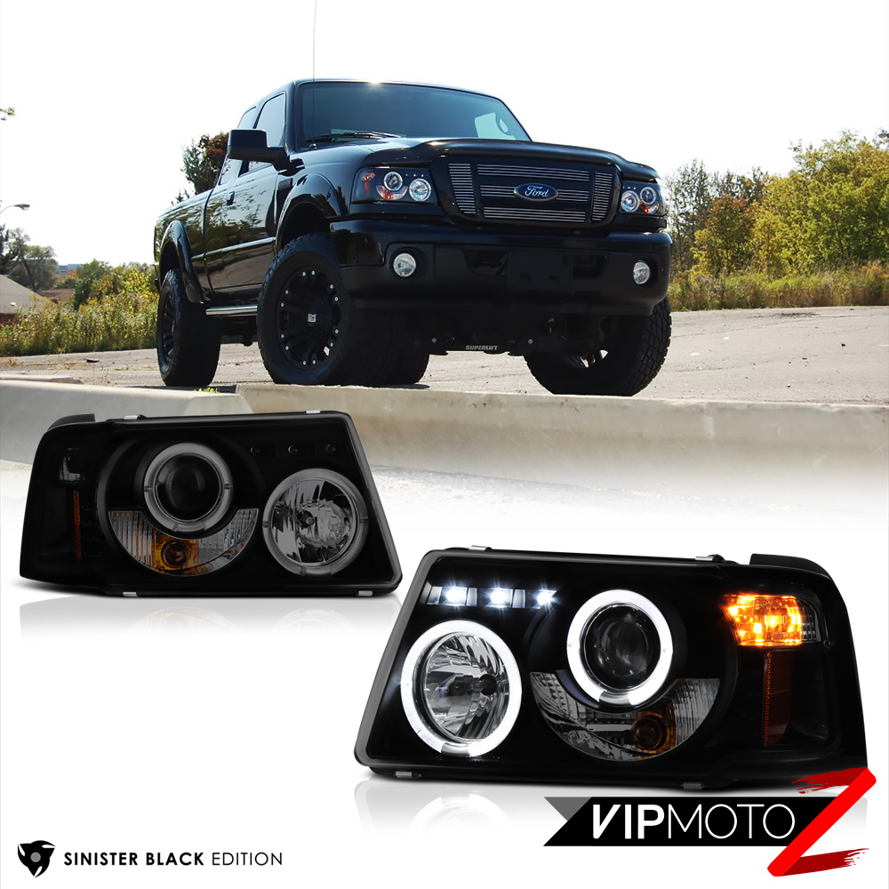2001 2011 ford ranger sinister black corner halo led projector headlights lamp ebay details about 2001 2011 ford ranger sinister black corner halo led projector headlights lamp