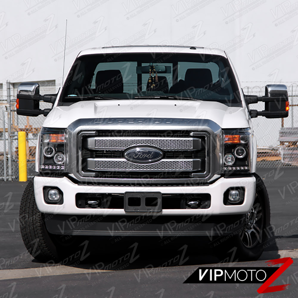 2011 2016 ford f250 f350 f450 superduty sd black halo led headlights headlamps ebay. Black Bedroom Furniture Sets. Home Design Ideas
