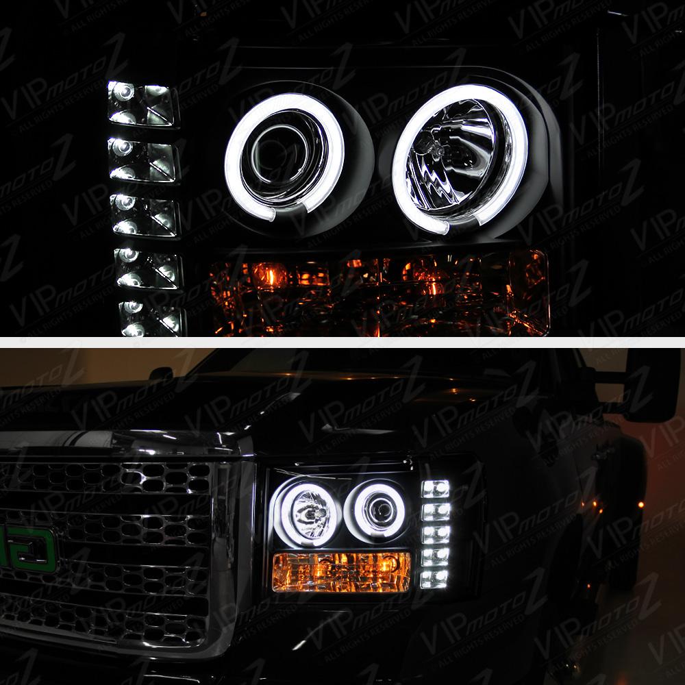 "2007-2013 GMC Sierra 1500 2500HD ""CCFL HALO"" BLACK"