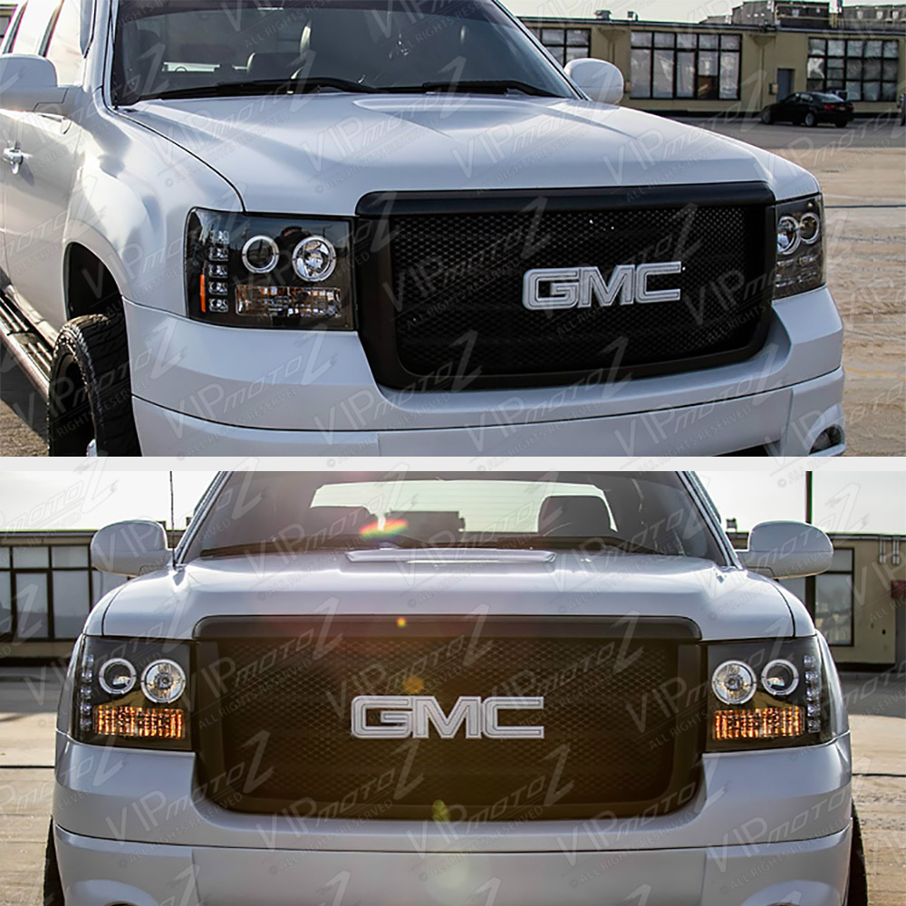 2007-2013 GMC Sierra 1500 2500HD 3500HD Black LED Angel