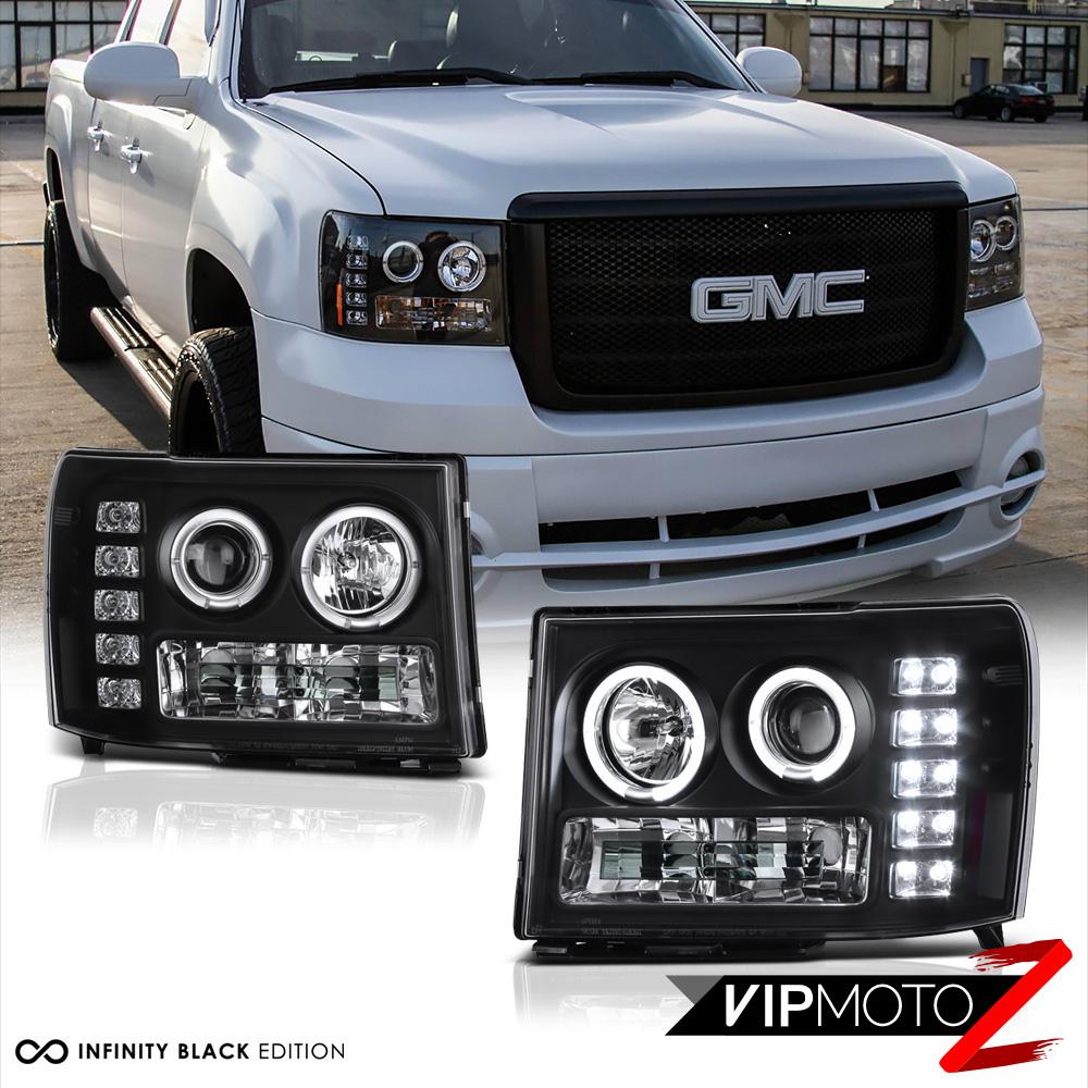 Halo DRL LED Headlights SINISTER BLACK 2007-2013 Silverado 1500 2500HD 3500HD