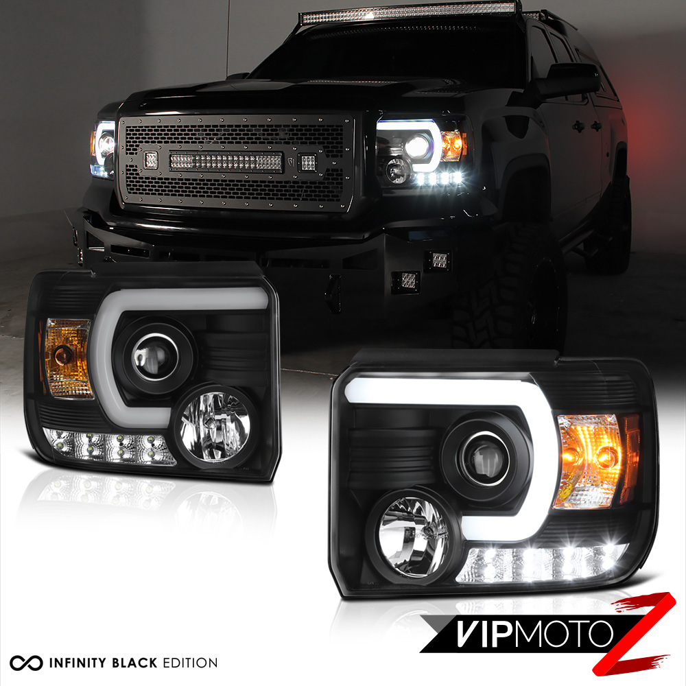 2014 2015 gmc sierra fiber optic led neon tube black projector headlights pair 7426547042076. Black Bedroom Furniture Sets. Home Design Ideas