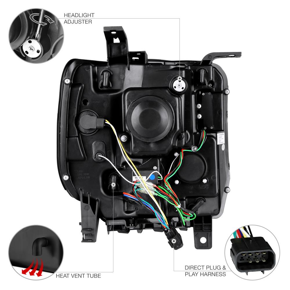 2014 2015 GMC Sierra 1500 2500HD 3500HD Black OLED DRL