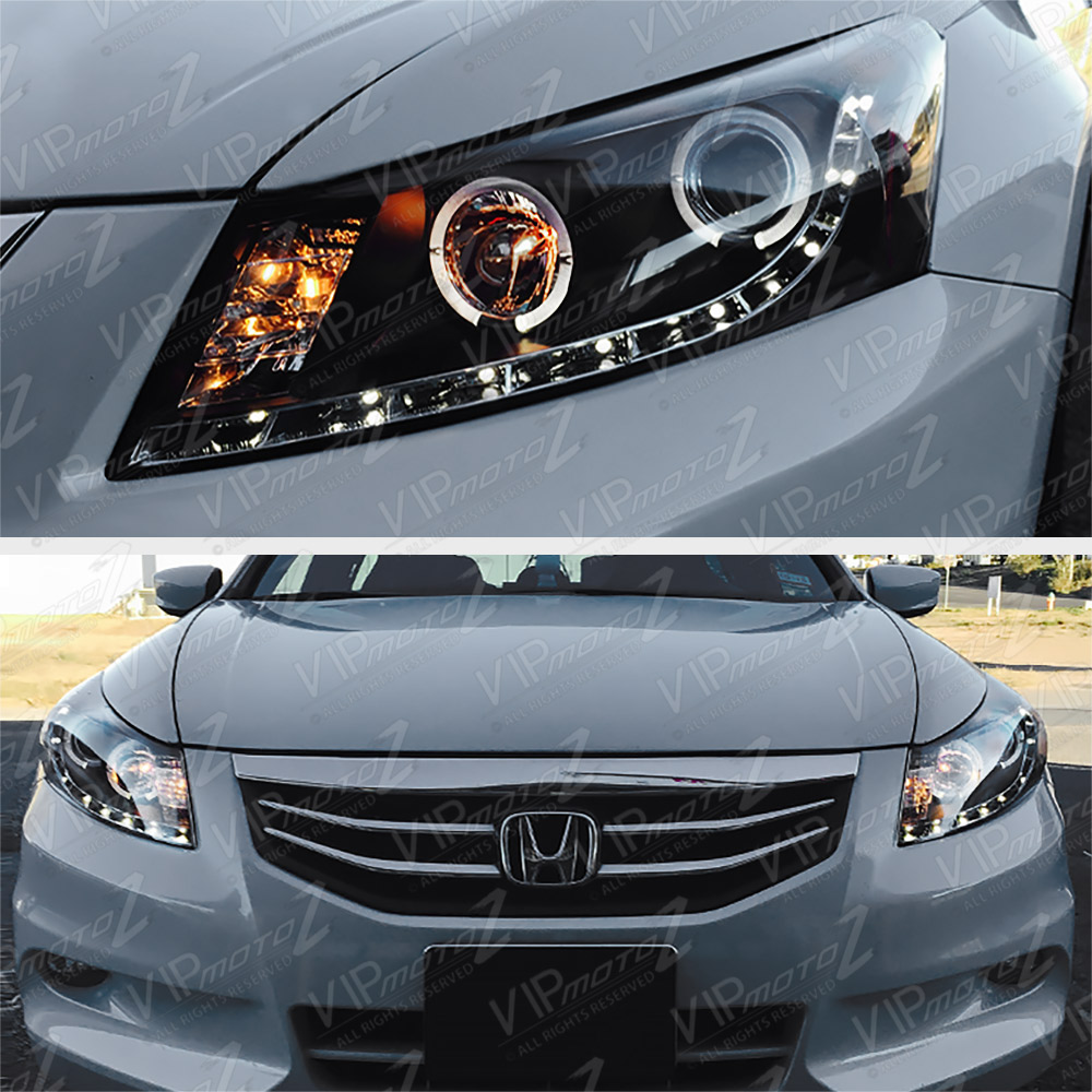 Honda Accord Headlights >> Details About L R Halo Black Projector Led Headlight Lamp Honda Accord 08 12 Cp2 Cp3 Ex Ex L