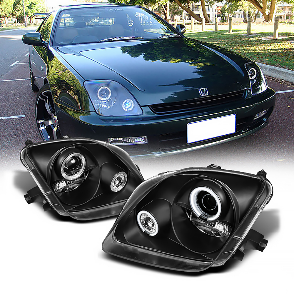 Honda Prelude Type Sh 1998 Front: JDM Black Halo Projector Headlight 1997-01 Honda Prelude